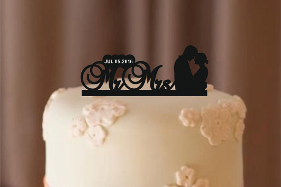 Mariage - personalize wedding cake topper Silhouette, bride and groom silhouette wedding cake topper, Mr and Mrs cake topper