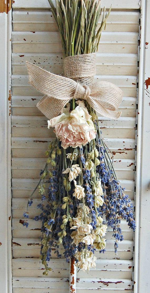 زفاف - Dried Lavender Bouquet With Dried Larkspur And Peony / Dried Flower Arrangement