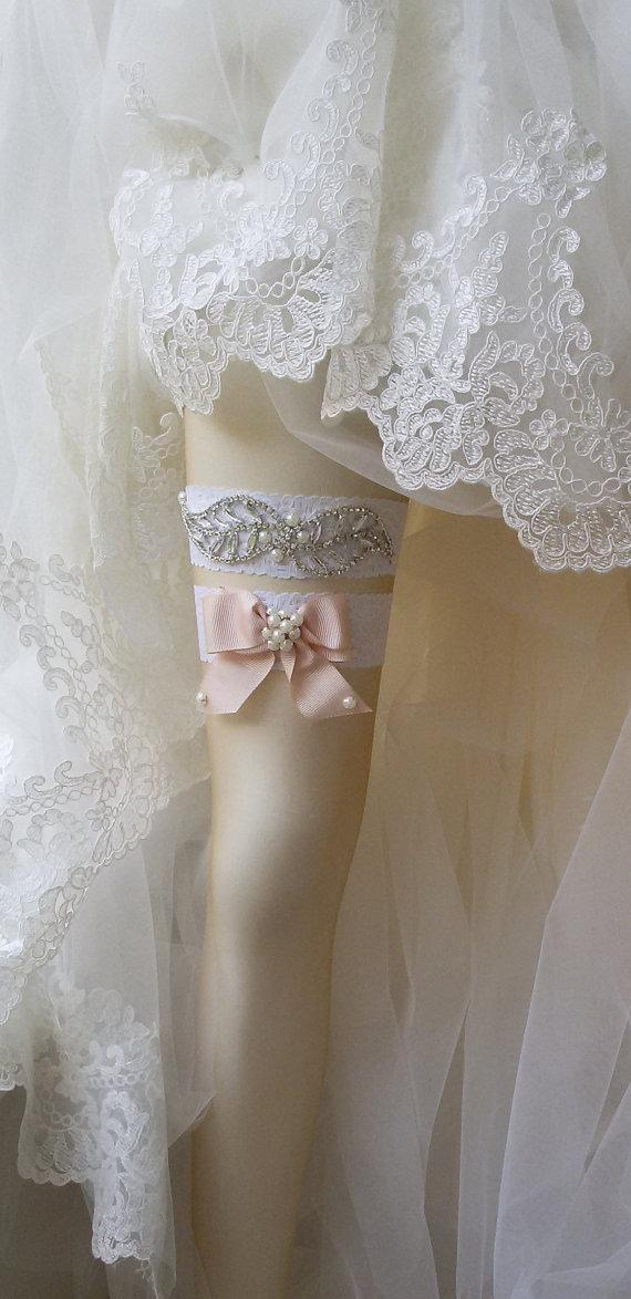 Wedding - Wedding Garter Set , Of White Lace Garter Set, Bridal Leg Garter,Rustic Wedding Garter, Bridal Accessory, Rhinestone Crystal Bridal Garter