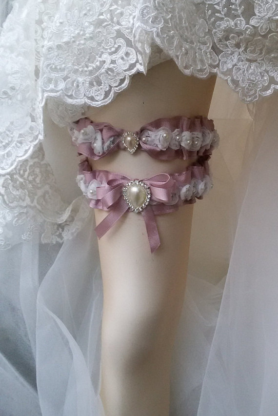 زفاف - Wedding leg garter, Wedding Garter Set , Ribbon Garter Set , Wedding Accessory, Pink Lace accessories, Bridal garter