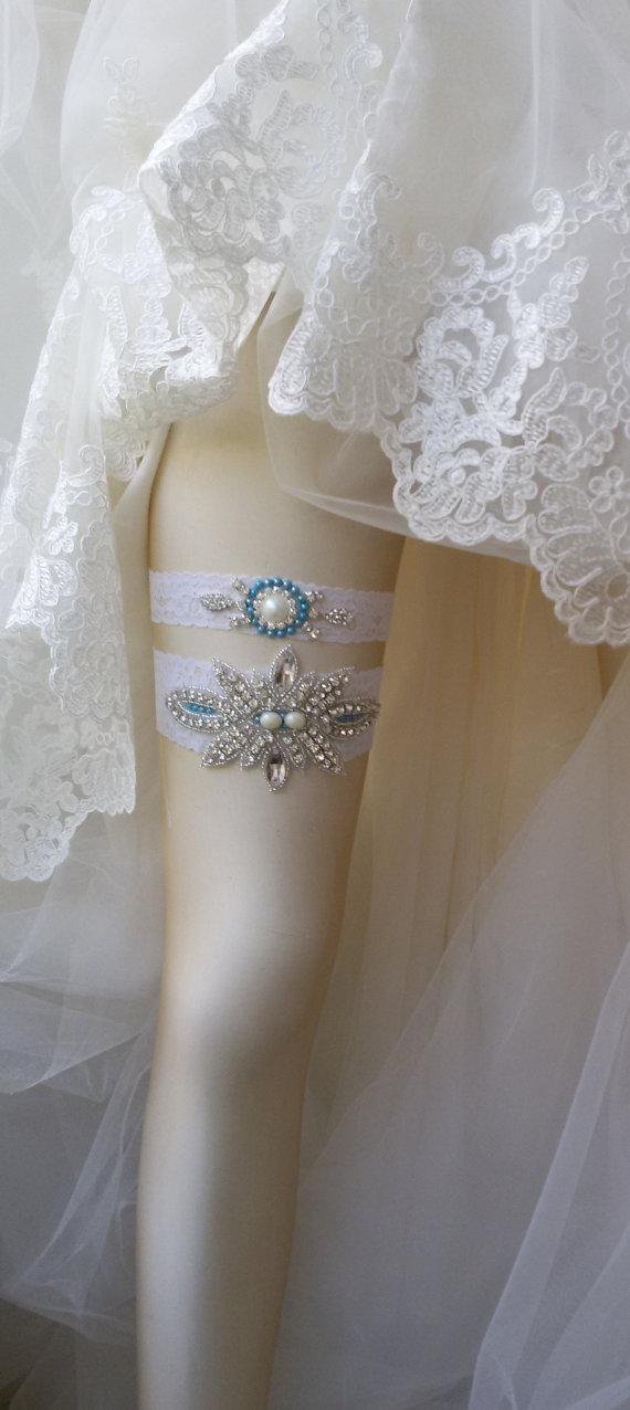 Mariage - Wedding Garter Set , Of White Lace Garter Set, Bridal Leg Garter,Rustic Wedding Garter, Bridal Accessory, Rhinestone Crystal Bridal Garter