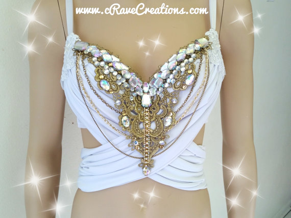 Hochzeit - White and Gold and Glam Design Custom Bra Costume Lingerie Rave Bra