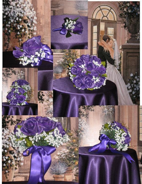 Свадьба - Regency Purple Bridal Bouquet, Silk Purple Wedding Flowers