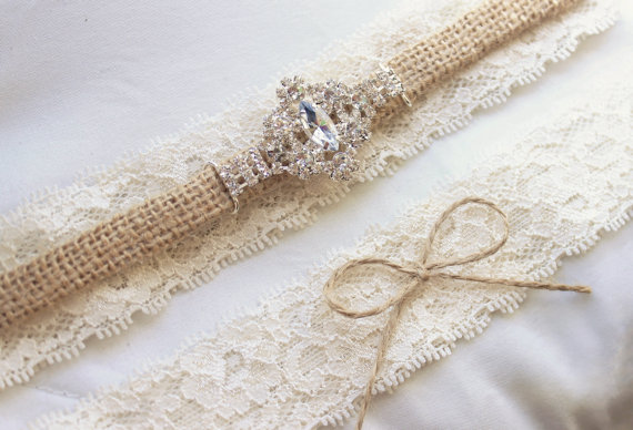 Burlap And Lace Garter W Diamond Rhinestone Bling Western Wedding Set Country Garder Belt Bridal