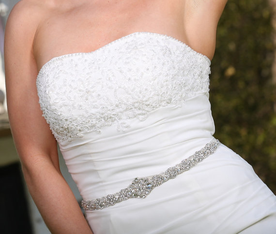 Mariage - Vlasta Bridal Dress Gown Beaded Jeweled Crystal Belt Sash
