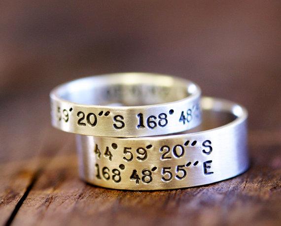 Свадьба - Wedding Ring Set Latitude and Longitude Rings (E0278)