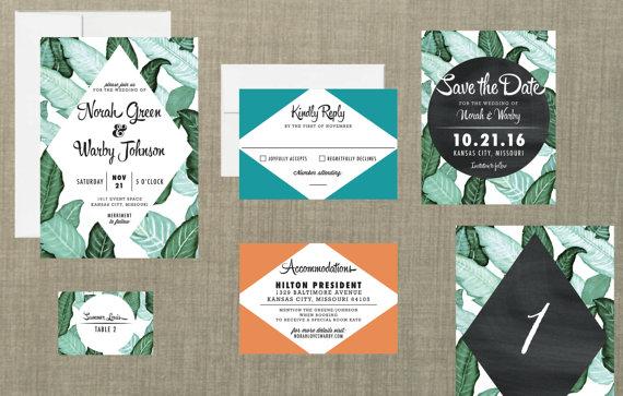 Wedding - Retro Botanical Wedding Invitation // DIY Printable // Retro Wedding, Banana Leaf Invitation, Botanical Wedding, Spring Wedding
