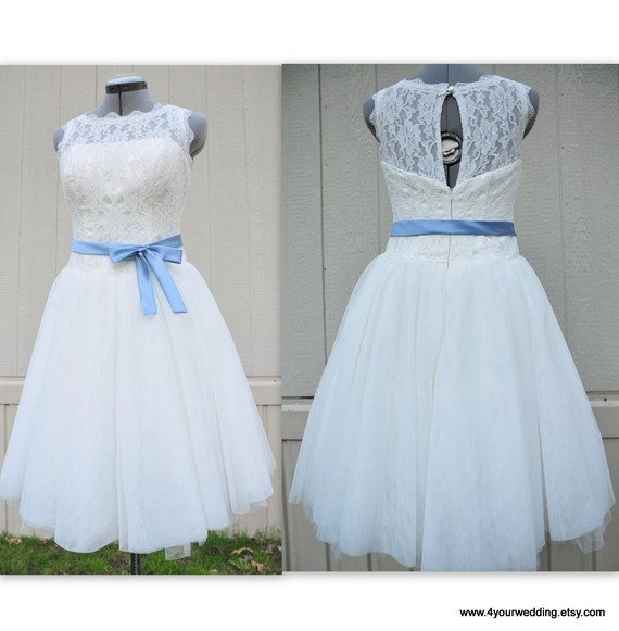 Mariage - Lanvu-1950s style wedding dress-boat neck A-line knee or tea length with satin sash bow