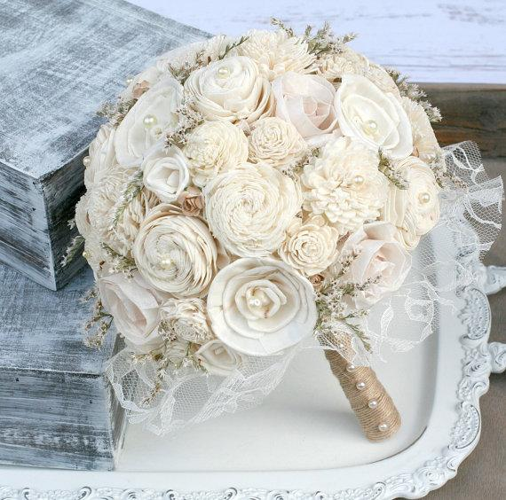 Cream Sola Wood & Paper Roses Lasting Brides Bouquet - Wedding ...