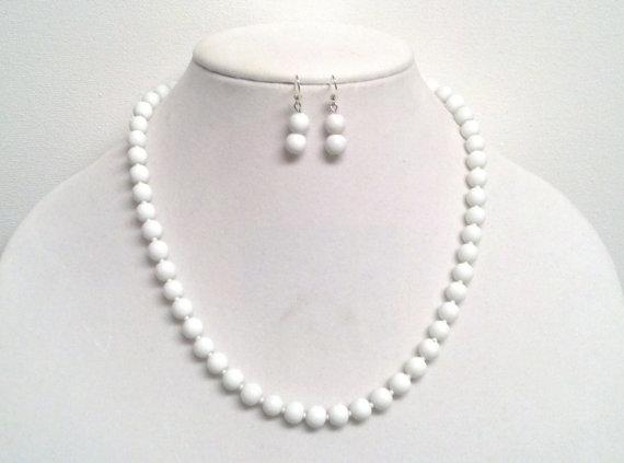 زفاف - 18 Inch Cute White Necklace Set