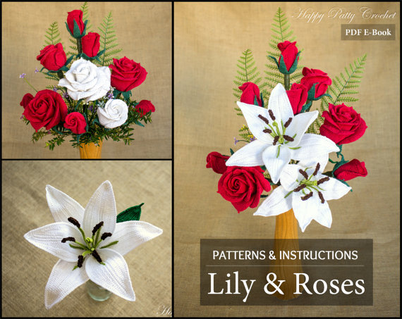 Crochet Flower Pattern Collection Crochet Lily Roses For
