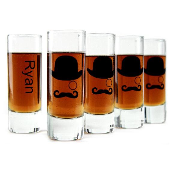 Свадьба - Groomsmen Gifts Wedding Favors Shooter Shot Glasses Set of 5 Gentleman Mustache Man