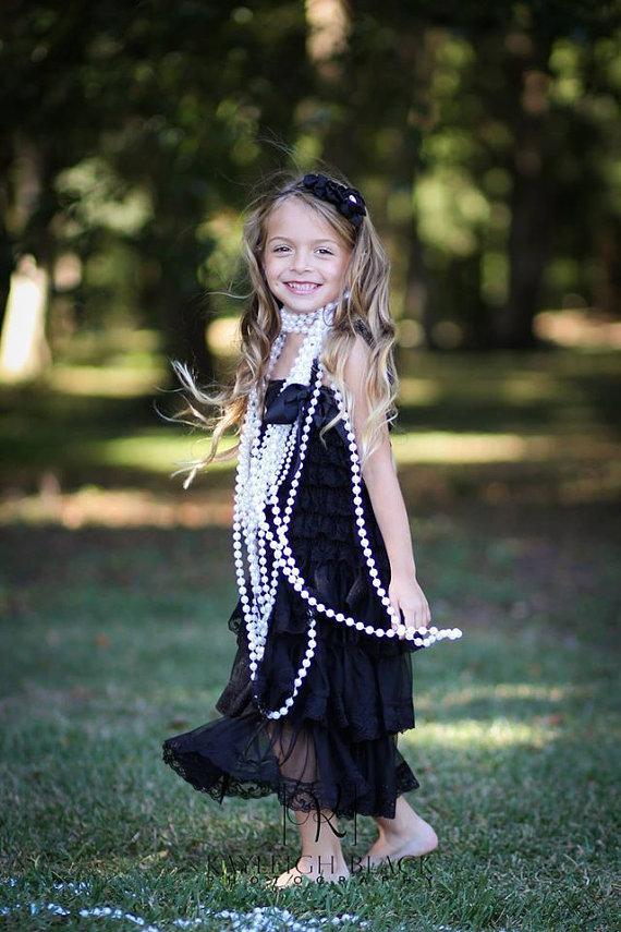 Black Flower Girls Dress Baby Lace Dress Junior Bridesmaid Black