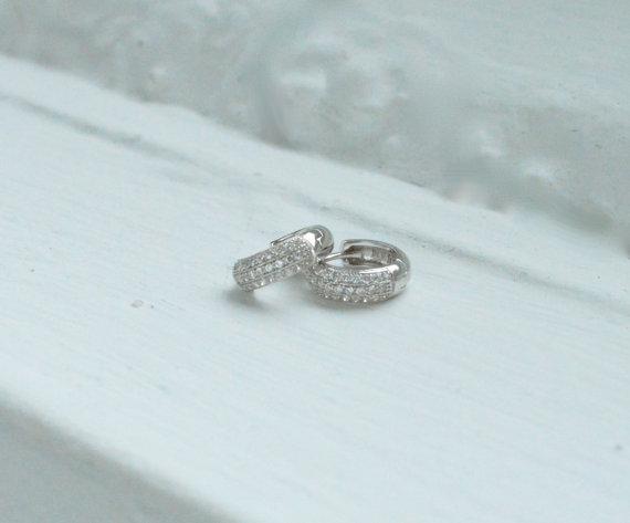 Свадьба - Cubic Zirconia Huggie Earrings - CZ Hoop Earrings - CZ Earrings - Micro Pave Earrings - Bridesmaid Earrings - Bridal Earrings