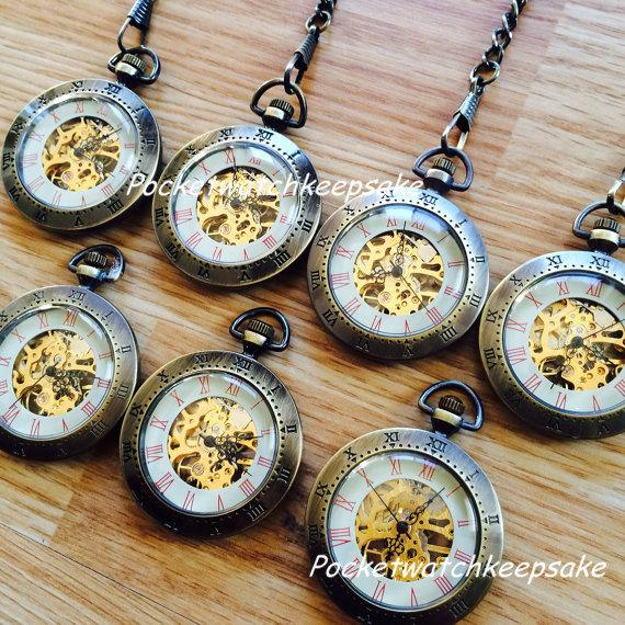 Свадьба - Groomsmen Pocket Watch set of 7 Bronze Mechanical PocketWatch with chain Wedding Gift Set of 7