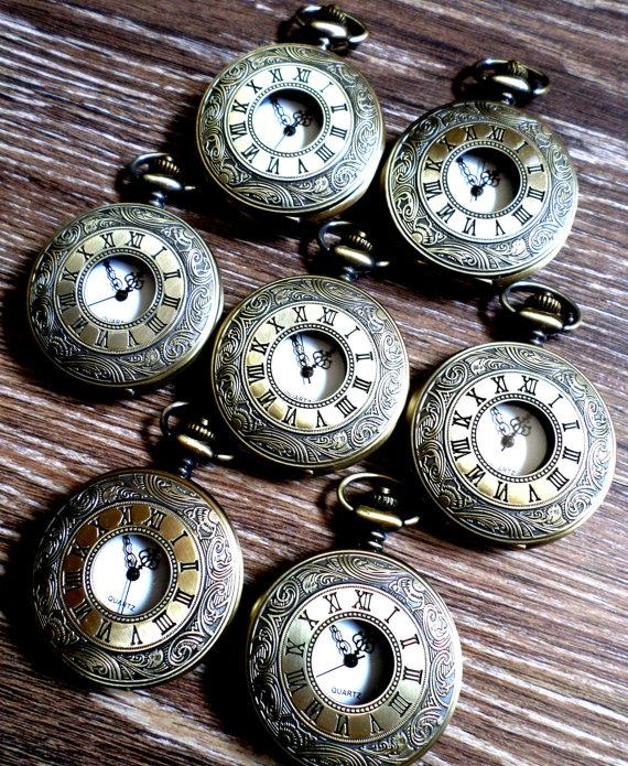 Свадьба - Pocket Watch Set of 7 Antique Gold Bronze Quartz with White Dial and Vest Chains Groomsmen Gift Wedding Party Keepsake Grooms Corner