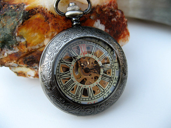 Wedding - Premium Victorian Engravable Gunmetal Mechanical Pocket Watch, Watch Chain - Groomsmen - Watch - Steampunk Edwardian - Item MPW249e