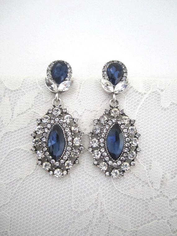 Свадьба - Clear Rhinestone Wedding Earrings Sapphire Earrings Dangle Bridal Evening Earrings Art Deco Earrings Blue Silver Woman Jewelry Accessory