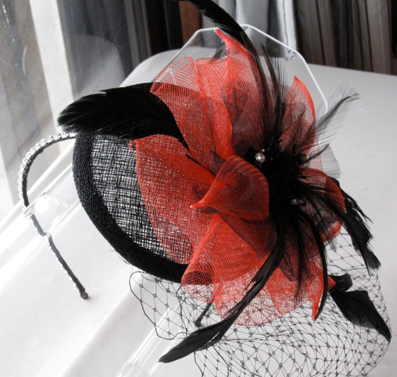 Red Flower Black Feather Sinamay Fascinator Hat with Veil and Crystal  Headband 506557f004d