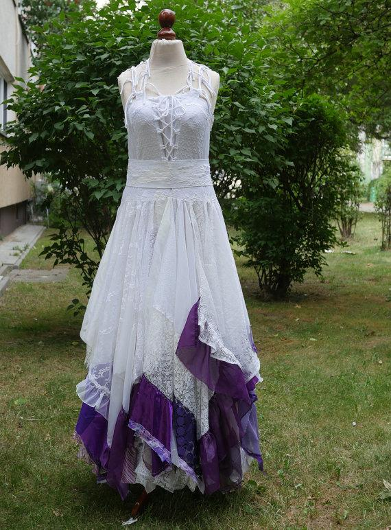 Mariage - Upcycled Wedding Dress Fairy Tattered Romantic Dress Upcycled Woman's Clothing Shabby Chic Funky Eco Style MADE TO ORDER