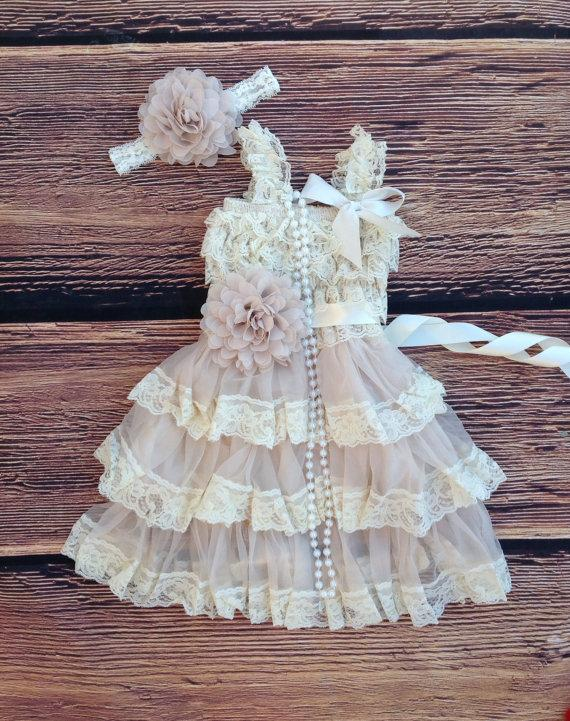 Tan beige lace toddler baby girl dress tan beige flower for Country wedding flower girl dresses