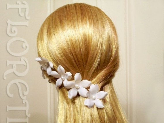 Mariage - White Pearl Silk Orchid Stephanotis Bridal Hair Pins, Set of 3  - Ready Made