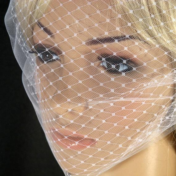 Hochzeit - Bandeau Style Veil Blusher Illusion Tulle French Net Double Layer Veil