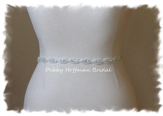 Hochzeit - Bridal Sash, 23 Inch Wedding Dress Belt, Rhinestone Crystal Sash, Beaded Wedding Belt, No. 4070S-23, Rhinestone Sash, Bridesmaid Belt