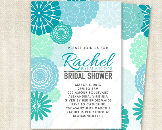 Turquoise & Mint Bridal Shower Invitation With Mod Floral ...