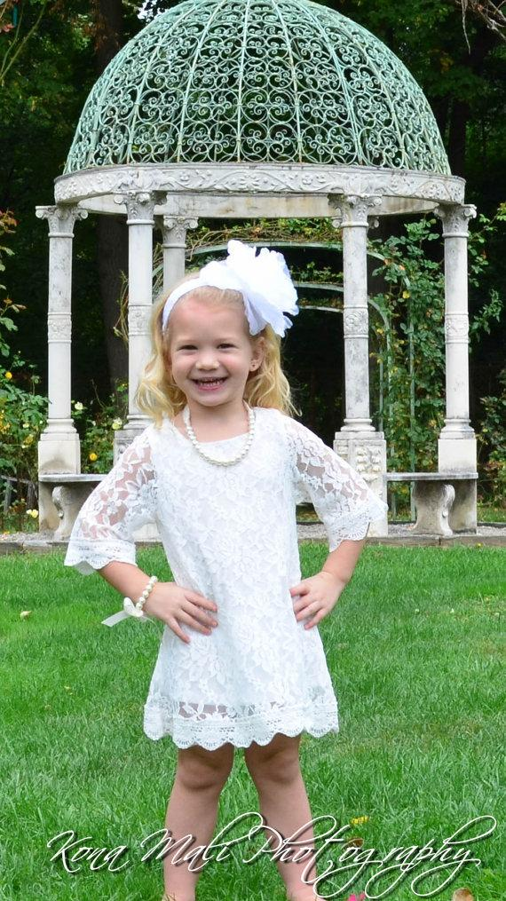 Mariage - Autumn Lace Flower Girl Dress-Christening Baptism Dress-Rustic Flower Girl-Long Sleeve Girl Dress-Bridesmaid-Country Flower Girl-Birthday