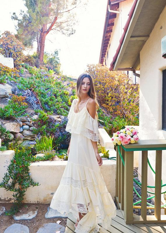 Mariage - high low silk chiffon BOHEMIAN WEDDING DRESS