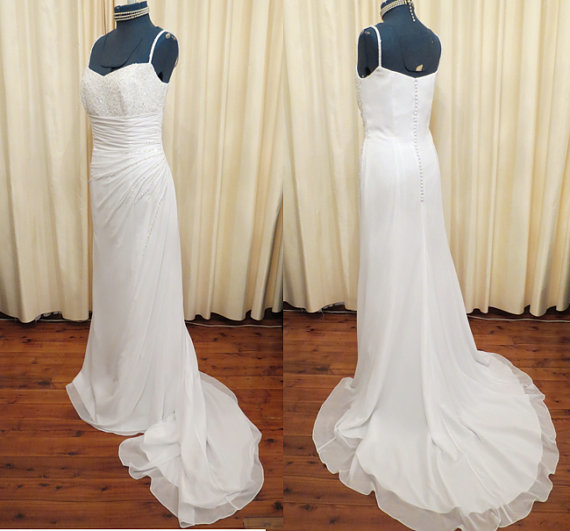Wedding - Vintage Sexy White Wedding Dress with Swarovski Crystal and Glass Beading Long Train