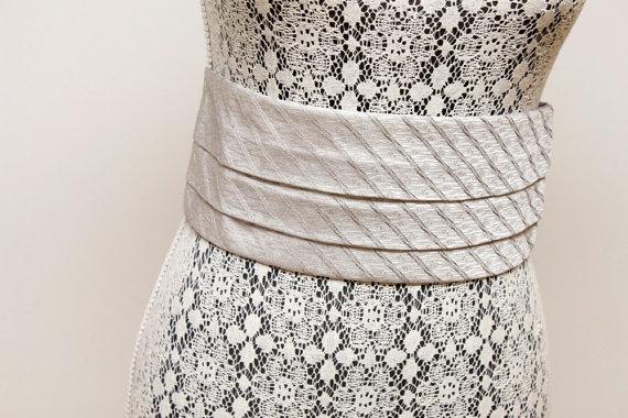 Mariage - Vintage Gray Italian Silk Cummerbund Unused