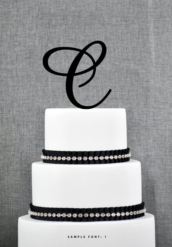 personalized monogram initial wedding cake toppers letter c custom monogram cake toppers unique cake toppers traditional initial toppers