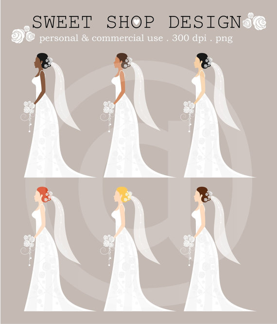 Mariage - 50% OFF SALE Wedding Clipart, Bridal Clipart, Royalty Free Clipart, N02, Instant Download