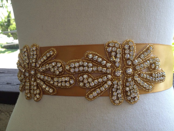 Mariage - Gold Bridal Sash,Wedding Beaded Sash,Bridal Big Gold Beaded Sash,Rhinestone Bridal Sash, Gold Crystal Sash, Beaded Bridal Sash,Bridal Sash