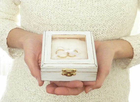 Wedding Ring Pillow - Ring Bearer Pillow, Box - Rustic Chic Pillow, Beach Shabby Chic Wedding ...