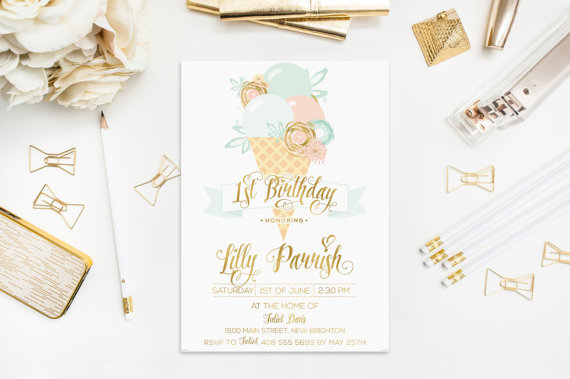 Ice Cream Invitation Birthday Mint Peach Pink Blue Gold Foil Flowers