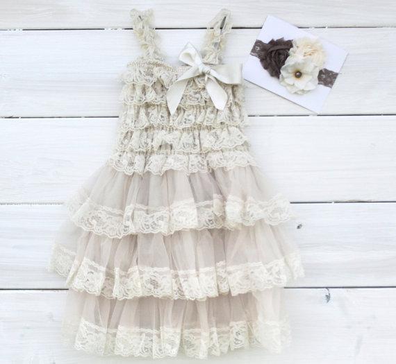 Wedding - Champagne  Rustic Lace Chiffon Dress with Matching Headband...Flower Girl Dress, Wedding Dress,  (Infant, Toddler, Child)