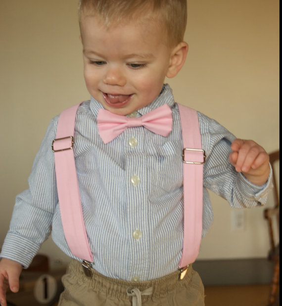 dcb36a284 Pink Bow Tie & Suspenders Set - baby pink - light pink- Baby Toddler Child  Boys - wedding