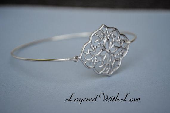 Mariage - Silver Filigree Bangle- Silver Bracelet- Geometric Bangle- Bangle- Silver Jewelry- Bridesmaids Gifts-Wire Bangle