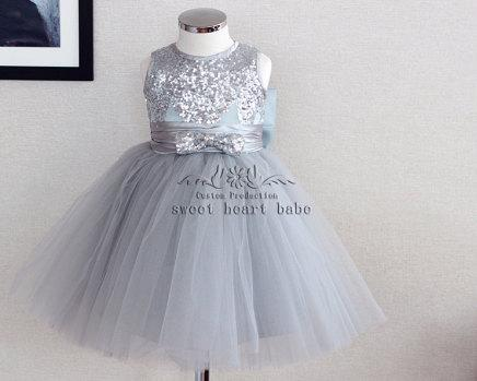 Flower Dress With Gray Sequins Party Baby Tulle New