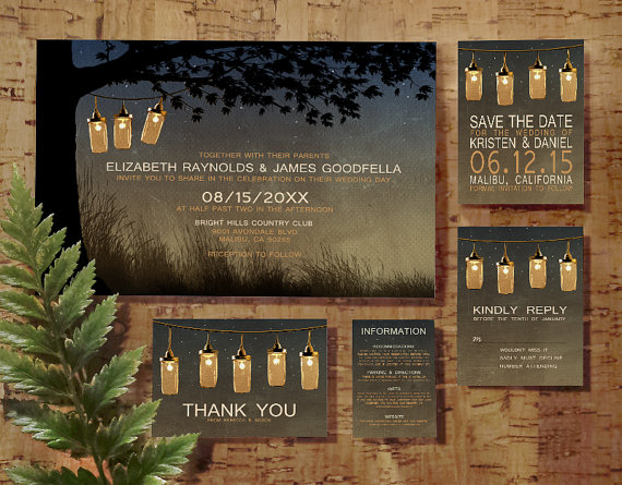 Mariage - Vintage String Lights Wedding Invitation Set/Suite, Invites, Save the date, RSVP, Thank You Cards, Info Response Card, Printable/PDF/Printed