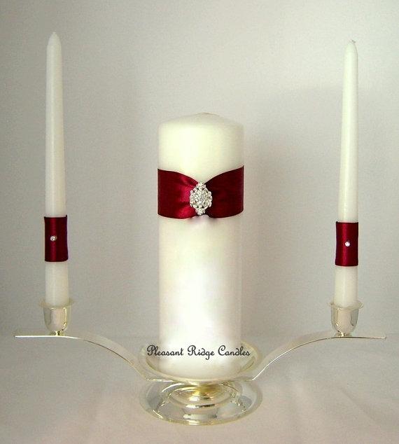 Burgundy Unity Candle Bling Unity Candle Wedding Candle