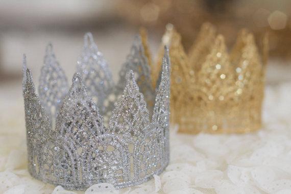 """زفاف - Lace crown, """"Princess Grace""""  photography prop, cake smash, princess party, crown cake topper, gold crown, newborn prop, crown headband"""