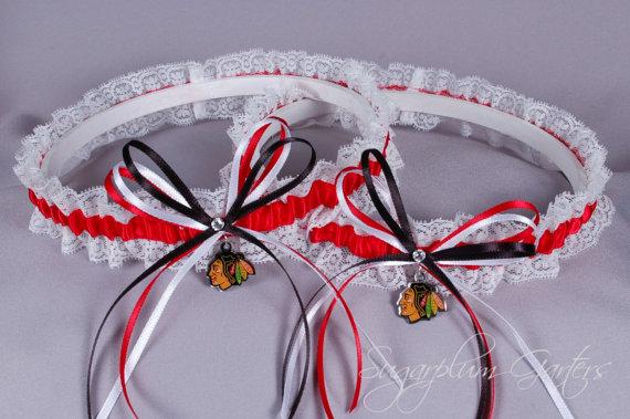 Mariage - Chicago Blackhawks Lace Wedding Garter Set