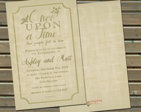 Once Upon A Time Engagement Party Or Wedding Event Invitation With ...