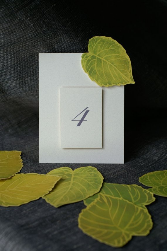 زفاف - Green Leaf Table Numbers for Spring or summer - Events - Weddings - Holidays - Celebrations - Seating