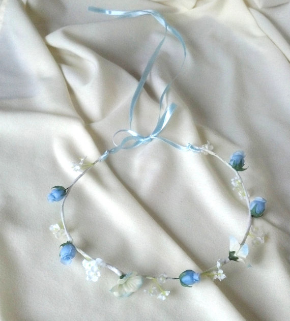 زفاف - blue flower girl halo wedding bridal hair accessory -Eliza- headwreath, baby blue circlet flower crown photo prop wedding accessories