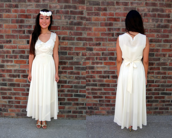 1950s 1960s Ivory Vintage Wedding Dress - Two Piece Vintage Slip ...